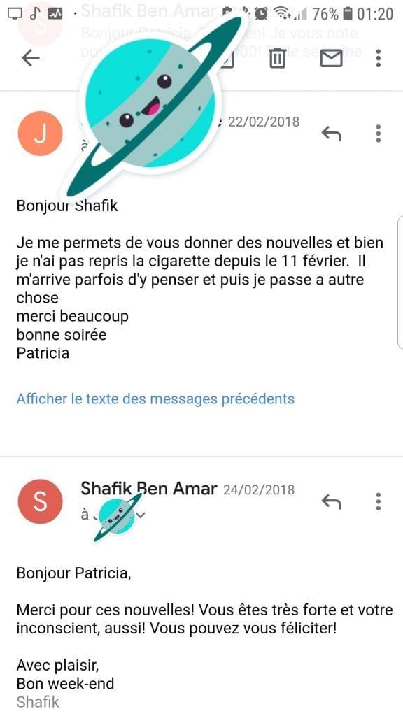 Shaff Ben Amar Hypnose - Avis Patricia Bourg-La-Reine - Arrêter de fumer avec lhypnotherapie scr - Bourg-La-Reine