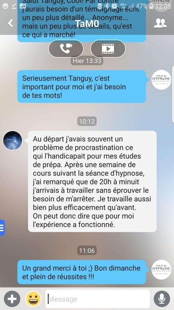 En finir avec la procrastination avec l'hypnose témoignage Tanguy procrastination et hypnose shafik Ben Amar Hypnose Bourg-La-Reine