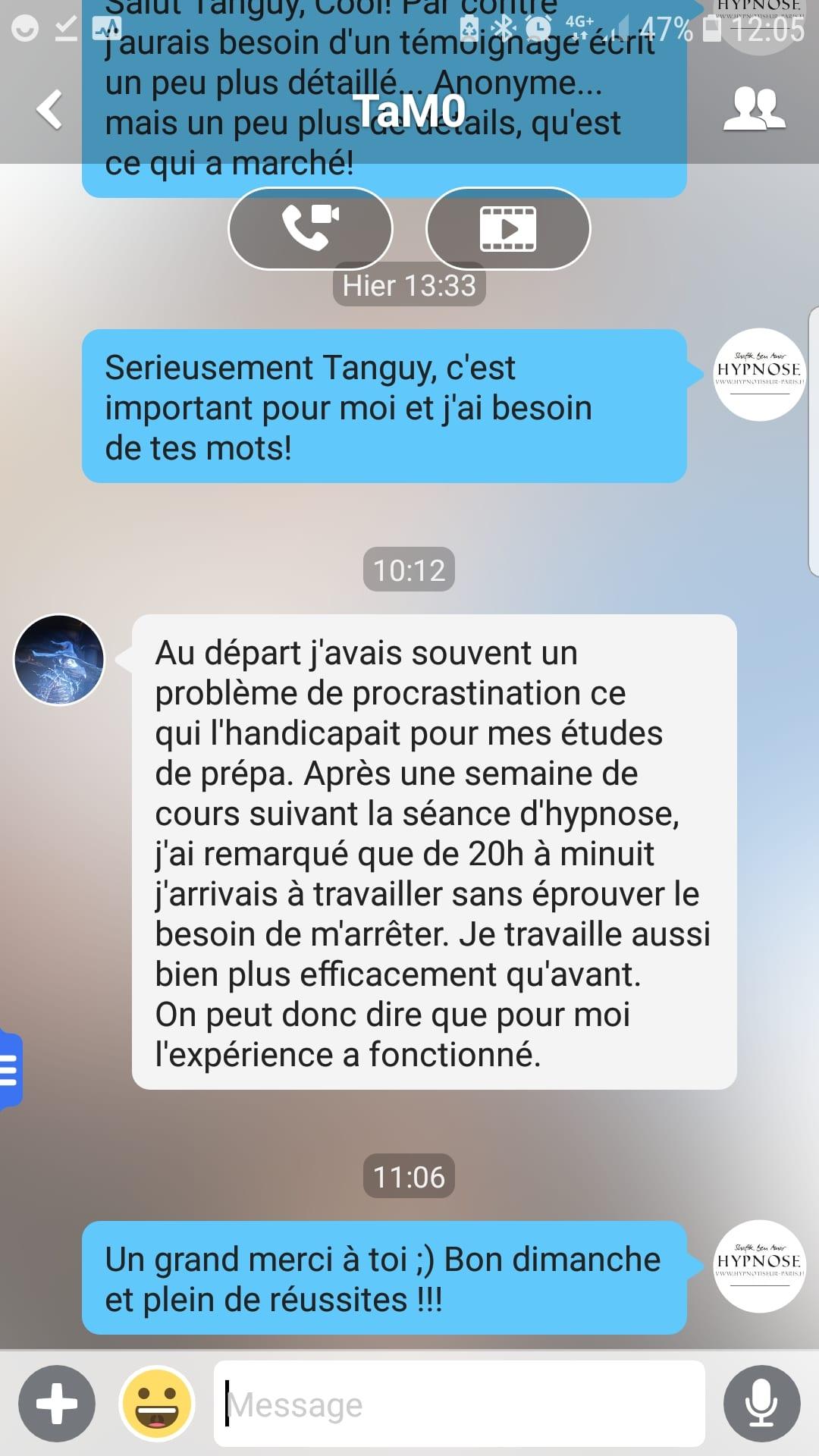 témoignage Tanguy procrastination et hypnose