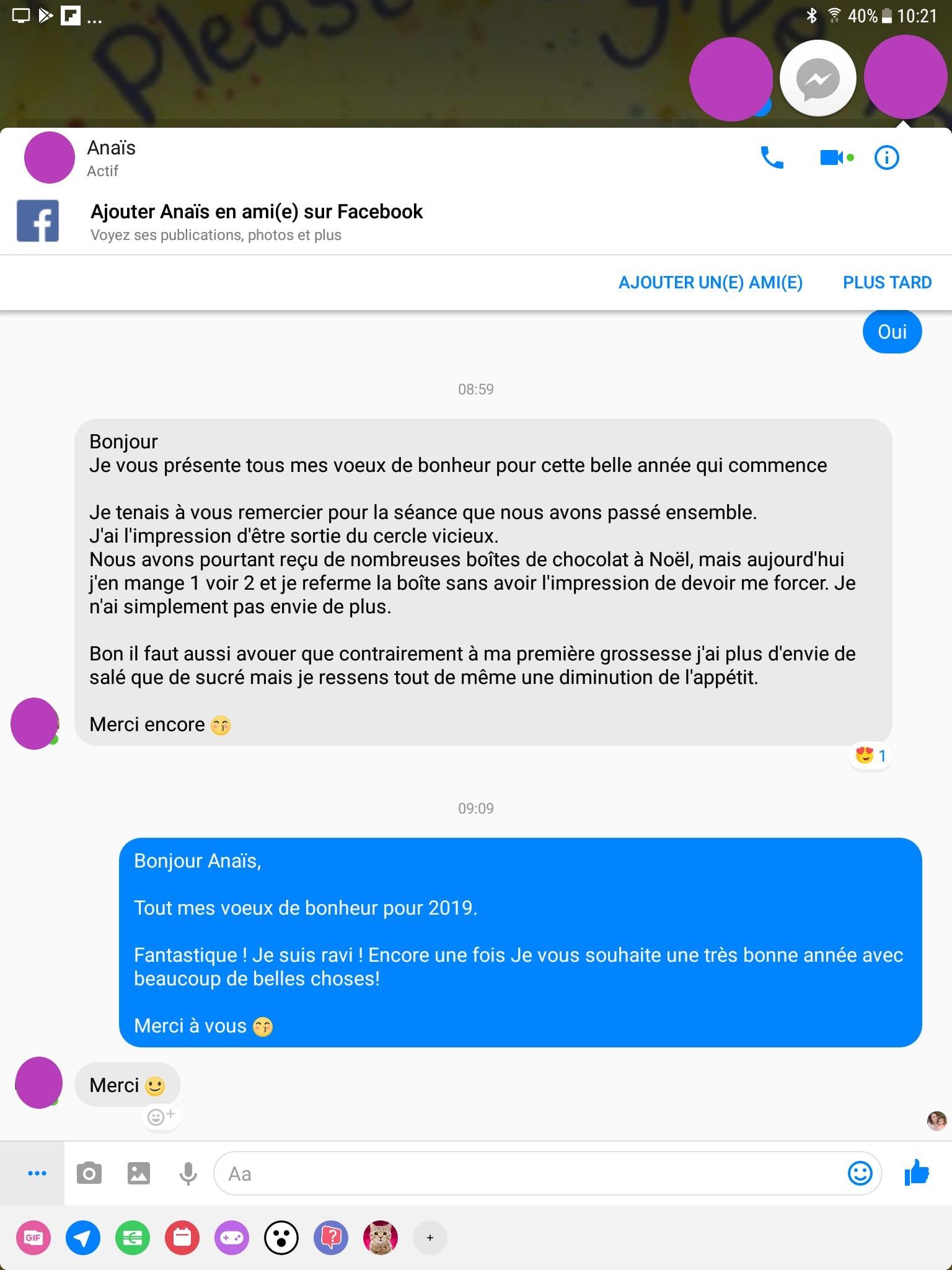 Shaff Ben Amar hypnose Bourg-La-Reine - Avis Anais Grossesse Noel Chocolats - screenshot - Hypnotiseur-Paris