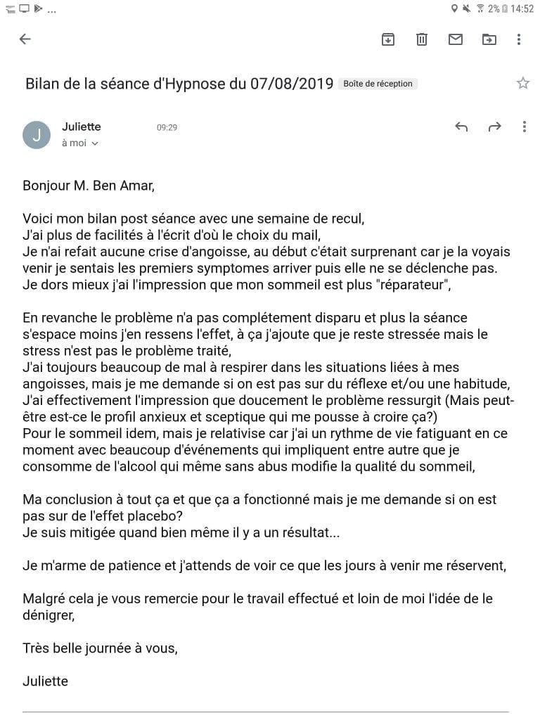 Avis Juliette hypnose et crise d'angoisse 2 - 1ere seance  - Shaff Hypnose Bourg-La-Reine - Screenshot