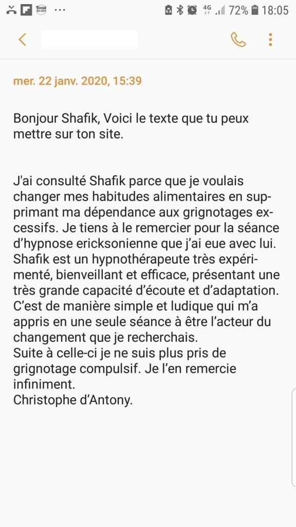 Avis Christophe antony Hypnose et grignotage compulsif Acteur de sa vie Shaff Hypnose BLR SCR