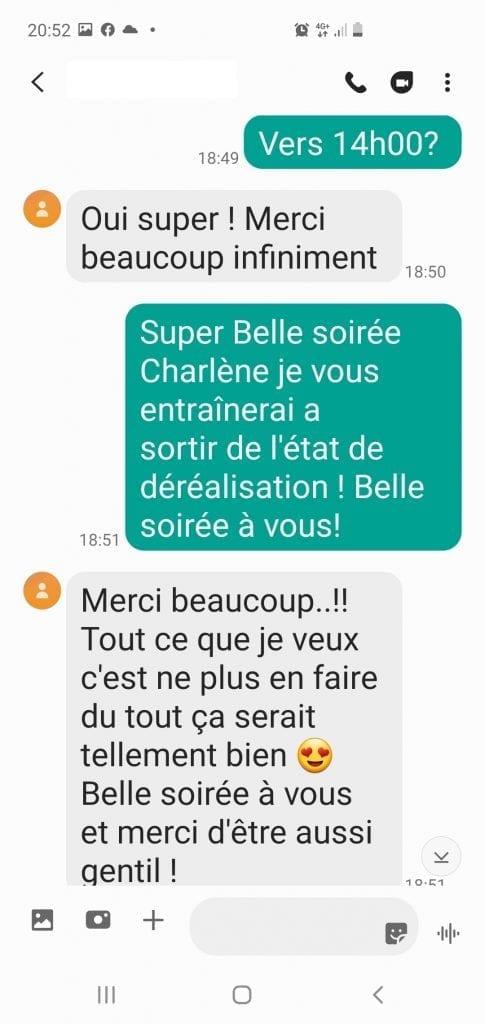 Scr_10 Avis Charlène Bourg-La-Reine -  Déréalisation, confinement, hypnose et questions essentielles Déréalisation confinement Covid hypnose