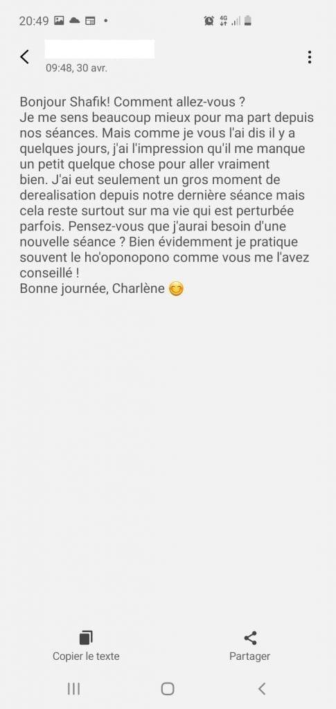 Déréalisation, confinement Covid, hypnose et questions essentielles Scr_6 Avis Charlène Bourg-La-Reine Shafik Ben Amar Hypnose BourgLaReine