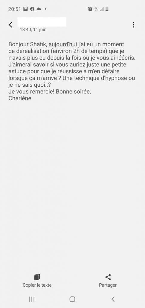 Déréalisation, confinement Covid, hypnose et questions essentielles Scr_9 Avis Charlène Bourg-La-Reine